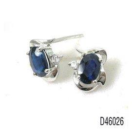 925純銀鍍白金天然藍寶石耳釘 耳墜 耳環 日韓簡約 可愛