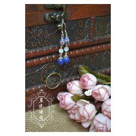 原創手作 時光印記 復古老料景泰藍配天然月光石 純銀耳環