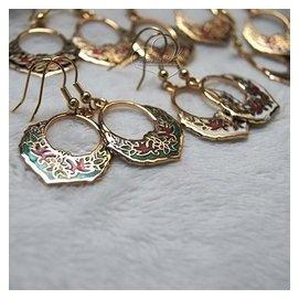 新式景泰藍復古景泰藍耳環耳釘飾品 花朵圓形纏枝奢華禮琺瑯