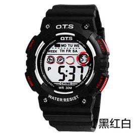 奧迪斯七彩夜光男士電子手表多 男表中學生防水登山戶外 手表跑步 7006 黑紅色