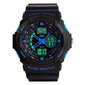 時刻美電子手表韓國潮流 雙顯手表男士戶外 手表防水電子表男學生腕表 藍色大號
