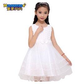 童星閃閃 女童公主裙春裝兒童連衣裙女孩婚紗蓬蓬裙禮服裙子春夏 白色5306紗裙 140