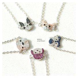 925純銀韓國鍍白金小狗手鏈鑲鑽鋯石狗狗可愛動物吊墜飾品