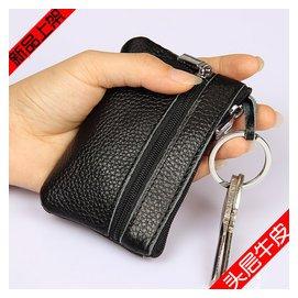 頭層牛皮女式零錢包 真皮拉鏈迷你小錢包口袋鑰匙硬幣包 包郵