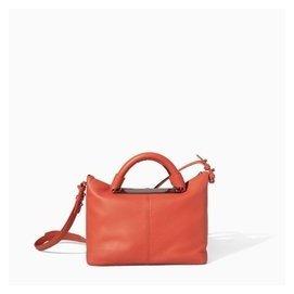 2014 zara 橘色手提單肩斜跨金屬裝飾保齡球外貿女包包郵
