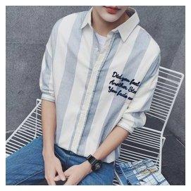 林彎彎帥2016 植絨裝飾豎條紋襯衣男士 五分袖襯衫