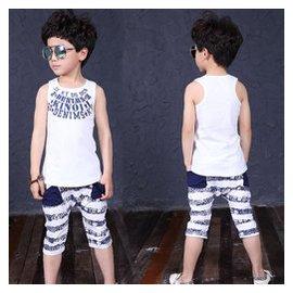 兒童夏裝2015 男童 純棉無袖套裝中大童背心短褲兩件套潮