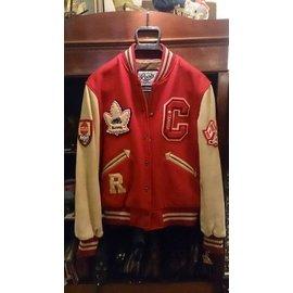 ~wkdg~加拿大品牌 ROOTS 加拿大製 紅色羊毛料 駝色皮革袖子 稀有款 古董 棒球