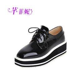 芊菲妮2015 中跟單鞋真皮坡跟女鞋 厚底松糕跟坡跟單鞋女潮鞋 黑色 39