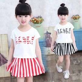 食尚  女童夏裝套兒童中大童正韓休閒T恤短裙 兩件套
