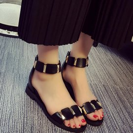 食尚  涼鞋女 平底正韓簡約女式羅馬鞋低跟露趾女鞋