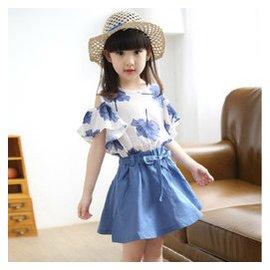 女童連衣裙夏裝2015 潮 套裝中大童短袖公主套裙 巴拉巴拉風格 藍色 160 身高150
