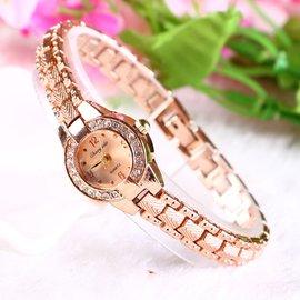 女土手表防水女性 手表女士 潮流 氣質玫瑰金手鏈式小表盤