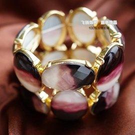原單外貿首飾品 白粉黑漸變色亞克力寶石女生寬手鏈 誇張氣質