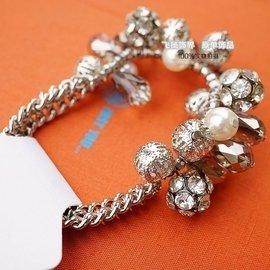銀色鏤空圓球滿鑽球透明亞克力女生手鏈 原單外貿首飾品 氣質