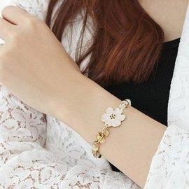 女 韓國 正品 小花朵亞克力水晶串珠手鏈B0479三色