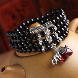 天然黑瑪瑙手鏈女款多層佛珠108顆生日 手串原創 手串