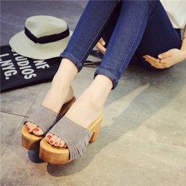 食尚 拖鞋女夏 粗跟高跟涼拖 流蘇百搭防滑室外 女士鞋子