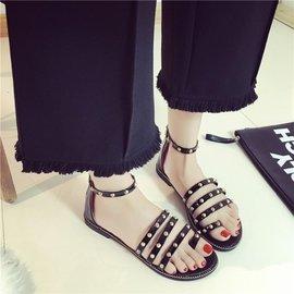 食尚   黑色羅馬鞋平底女鞋露趾鉚釘套趾涼鞋女學生拉鏈