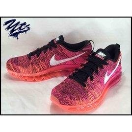 NIKE WMNS FLYKNIT MAX 全氣墊 編織 粉色 漸層 慢跑鞋 女鞋 雪花