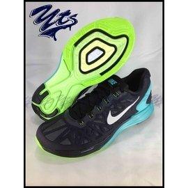 NIKE LUNARGLIDE 6 男鞋 透氣 緩震 慢跑鞋 黑藍綠 氣墊 編織 白勾 6