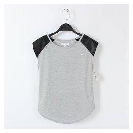 大劉外貿 2015 女裝皮革拼接袖子圓領T恤衫 無袖汗衫 棉質背心