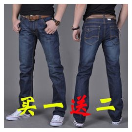 秋鼕款加絨彈力男士牛仔褲男彈性直筒寬松男款牛仔長褲加肥加大碼