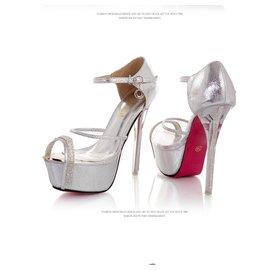 夜店超高跟涼鞋細跟魚嘴單鞋性感透明水鑽14cm水晶細跟涼鞋後跟高: 超高跟^(大于8cm^