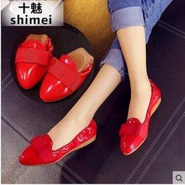 十魅單鞋女平底鞋2016 船鞋工作牛津鞋紅色婚鞋孕婦蛋卷秋