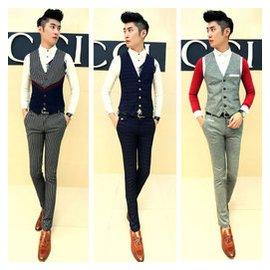 男士英倫套裝 西裝馬甲 修身 型西褲正裝長褲條紋格子潮