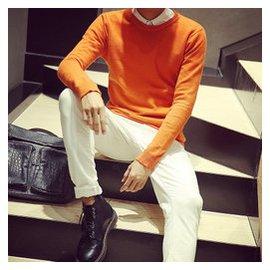 男士圓領毛衣 套頭修身 長袖打底針織衫純色薄款青年 線衫