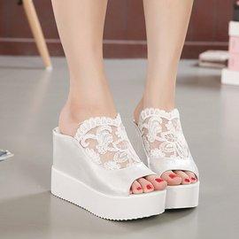 食尚 坡跟拖鞋女防水台女鞋子春夏 松糕跟甜美蕾絲露趾涼鞋女高跟鞋