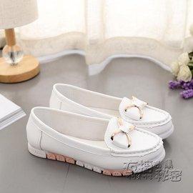 食尚  圓頭軟皮底舒適休閒小白鞋平底單鞋蝴蝶結豆豆鞋女 衣の秘密