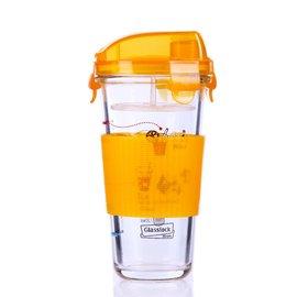 韓國三光雲彩樂扣隨手杯玻璃杯子帶蓋透明水杯茶杯樂扣檸檬搖搖杯