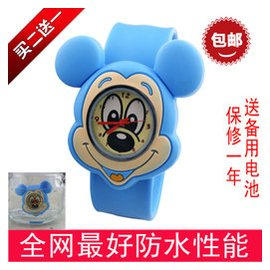 買二送一新年生日 迪士尼米奇學生男女孩防水兒童手表拍拍卡通