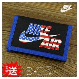 耐克超薄帆布錢包 女 短款學生qianbao皮夾 魔術貼零錢夾男