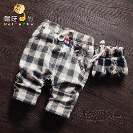 食尚 兒童馬褲夏裝9個月男童格子褲10~11 男寶寶七分褲夏款褲子 衣櫥の祕密