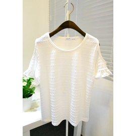 韓國訂單復古簡約甜美風鏤空小提花圓領套頭露肩荷葉邊短袖T恤女