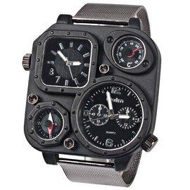 Oulm歐鐳 男士概念鋼帶手表多 防水表戶外 手表指南針軍表