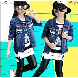 食尚  女童秋裝短款牛仔外套兒童外套女春秋薄款開衫上衣 牛仔衣DL8887