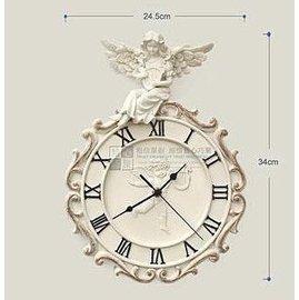 款 歐式 時鐘 樹脂靜音古典天使藝術壁掛鐘 天使時鐘 掛鐘 送禮
