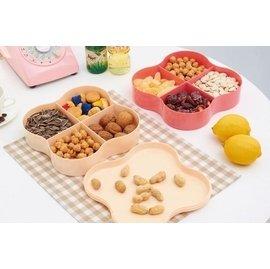 夢芭莎 雙層四葉草干果盤高檔婚慶零食糖果盤果盒干果盒分格密封帶蓋
