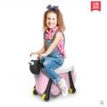 小羊肖恩旅行箱拉桿箱兒童旅行箱可坐可騎兒童玩具箱騎行拉鏈箱
