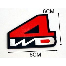 ~洪氏雜貨~ 272A164   貼飾3D金屬 紅4WD  單入  汽車標誌改裝  車標