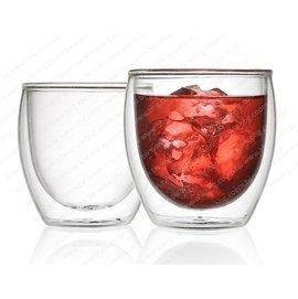 Q04~雙層玻璃杯~圓嘟嘟耐熱雙層玻璃杯~溫暖手捧杯250ML~ ,冰水不濕手,熱水不燙手