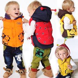 2016春秋款寶寶兒童棉馬甲男女童加厚加絨甲殼蟲連帽馬夾嬰兒背心