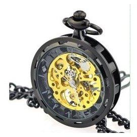 ~DO~~機械動感 鏤空懷錶~蒸汽朋克車輪 懷錶復古機械表男女表鏤空鋼齒輪合金掛表鏈條表
