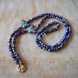飾品作坊景泰藍藍色佛牌掛鏈配金殼蝴蝶牌佛牌鏈子項鏈毛衣鏈