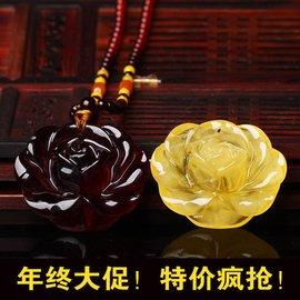 正品天然波蘭血珀琥珀吊墜 雞油黃蜜蠟玫瑰花項鏈 女款 附證書