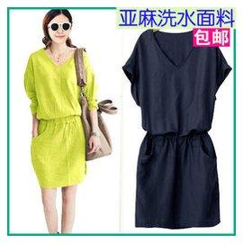 歐洲站大碼女裝棉麻 麻料裙子長短袖韓國東大門 亞麻連衣裙